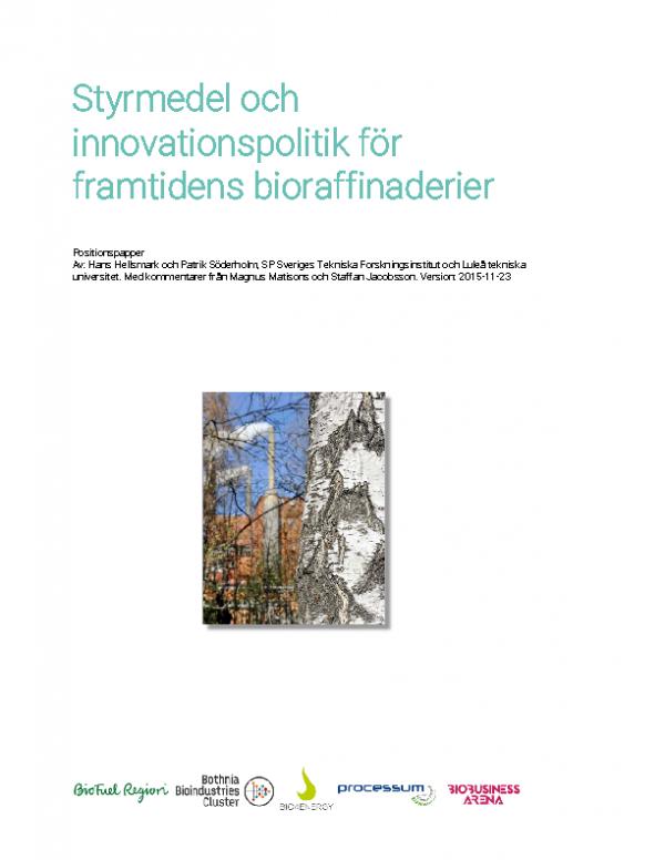 2015 PDF Styrmedel och innovationspolitik for framtidens bioraffinaderier