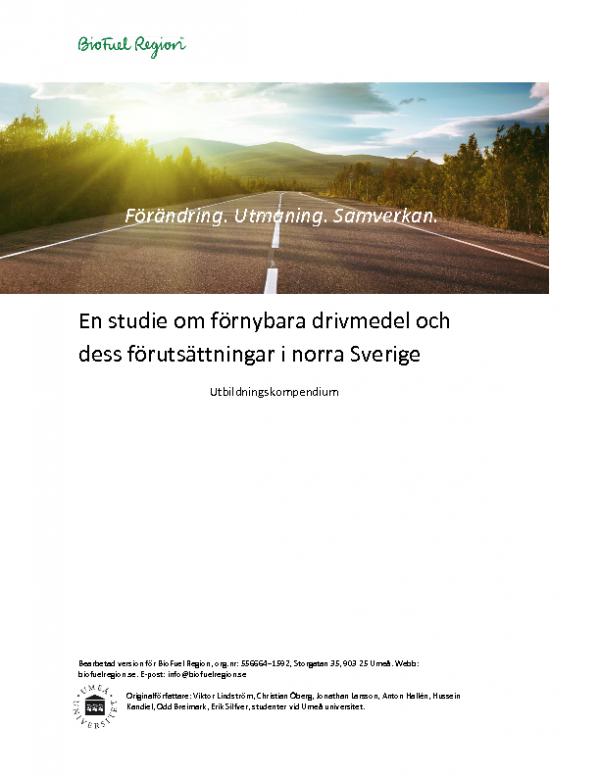 2017 Studie om fornybara drivmedel och forutsattningar i norra Sverige