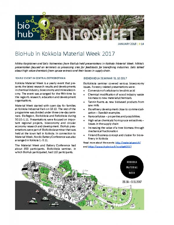 2018 No 14 BioHub in Kokkola Material Week 2017