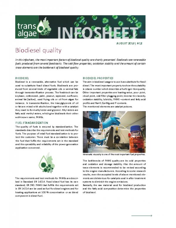 Infosheet No 12 Biodiesel quality
