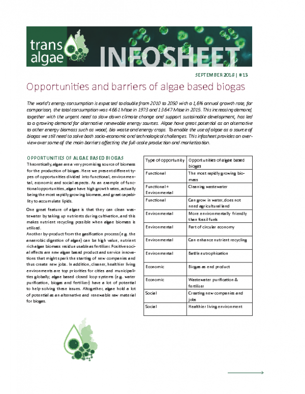 Infosheet No 13 Opportunities and barriers of algae based biogas