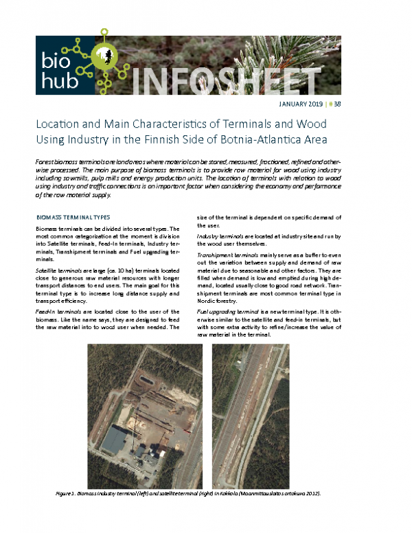 Infosheet no 38 Location and Main Characteristics of Terminal and Wood Using Industry in Finland