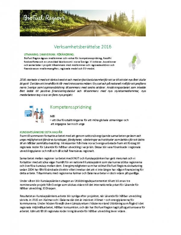 2016 BioFuel Regions verksamhetsberättelse
