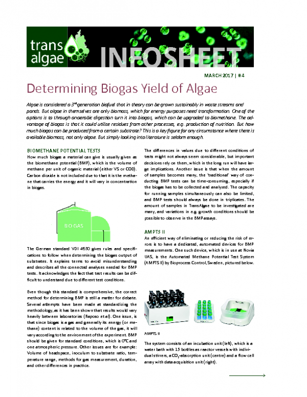 2017 No 4 Determing Biogas Yield of Algae