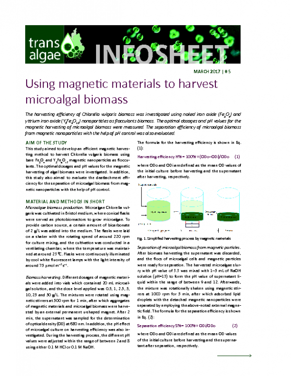 2017 No 5 Using magnetic material to harvest microalgal biomass