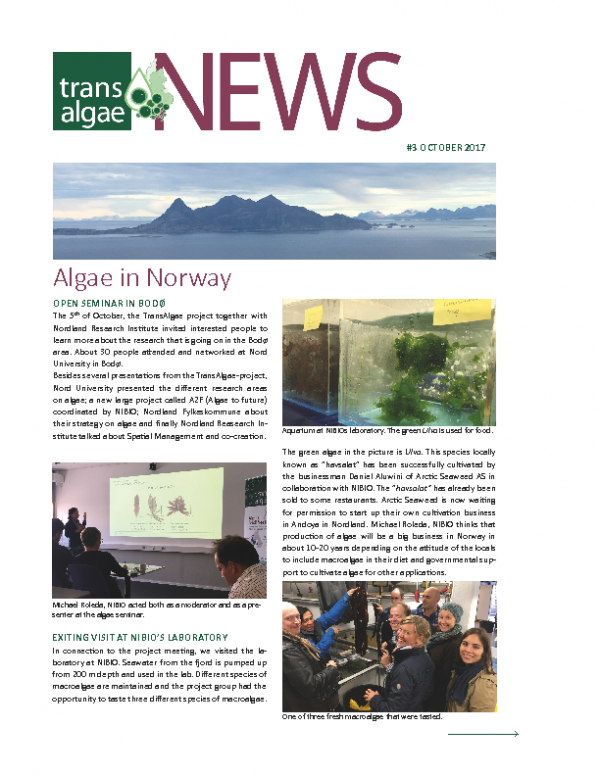 Newsletter No 3 TransAlgae