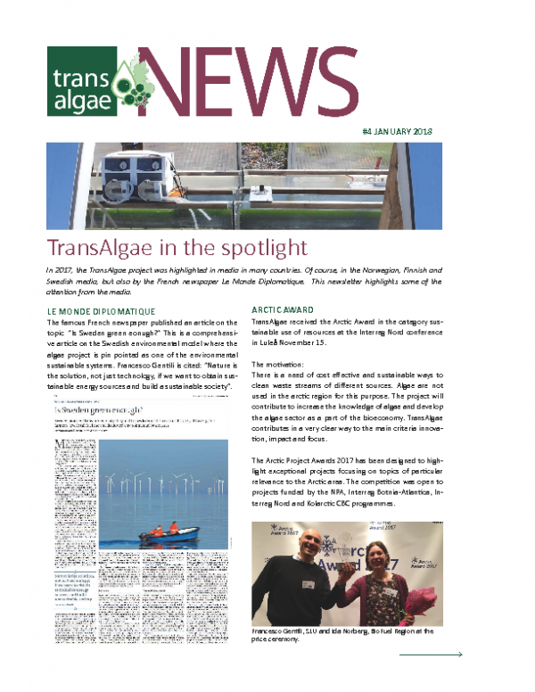 Newsletter No 4 TransAlgae