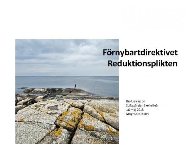 20180516 Magnus Nilsson, Förnybartdirektivet, Reduktionsplikten