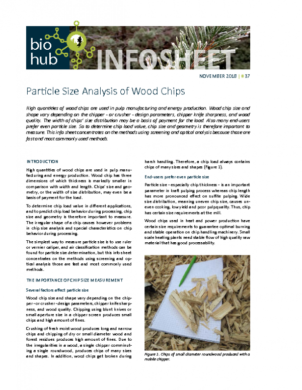 2018 No 37 Particle Size Analysis of Wood Chips