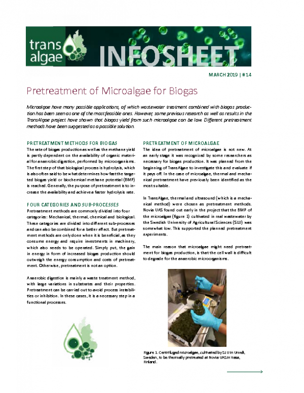 2019 No 14 Pretreatment of Microalgae for Biogas