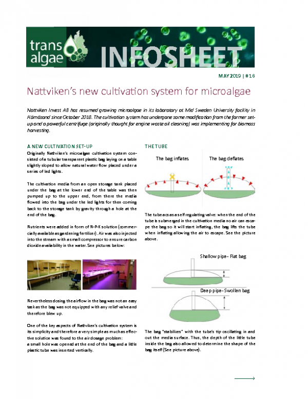 2019 No 16 Nattviken's new cultivation system for microalgae at MIUN
