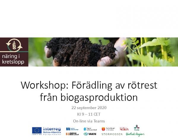 Workshop förädling av rötrest från biogasproduktion 22sep 2020